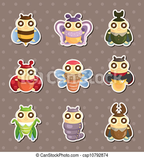 cartoon insect bug stickers - csp10792874