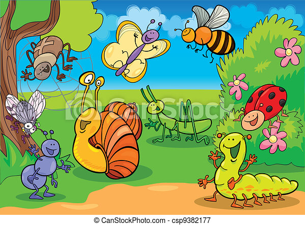 cartoon insects on the meadow - csp9382177