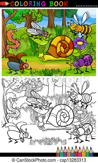 Cartoon Insects Or Bugs For Coloring Book Coloring Book Or Coloring