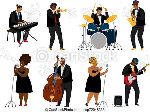 Cartoon Jazz Band Musicians On White Musical Player With Music Instruments And Singing Women Characters On Rehearsal Piano Canstock
