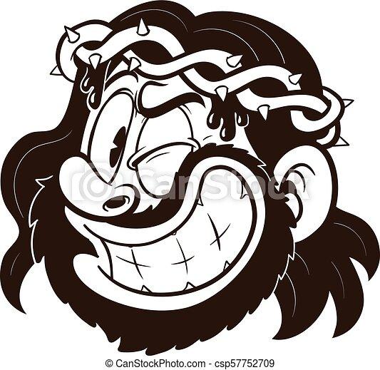 Cartoon jesus. Cartoon winking jesus with a thorn crown ...