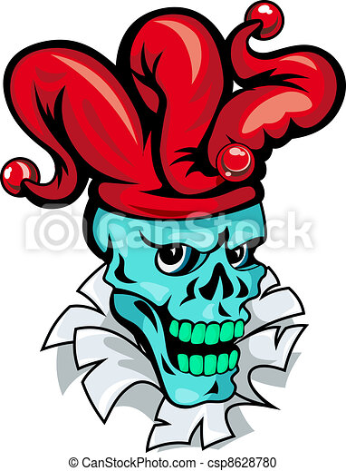 cartoon joker skull on torned paper for t shirt design vector rh canstockphoto ie joker vector face joker vector wallpaper