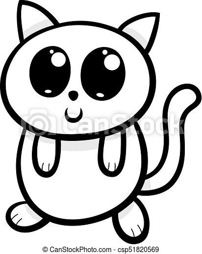 Cartoon Kawaii Cat Or Kitten Illustration Cartoon Illustration Of