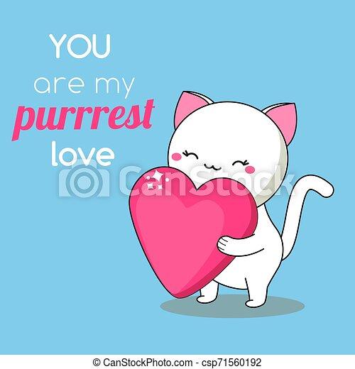 Cartoon Kawaii Cat With Heart Cute Kitten Character With