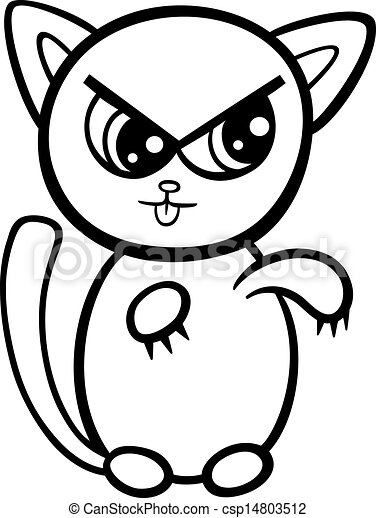 Cartoon kawaii kitten coloring page. Black and white cartoon ...