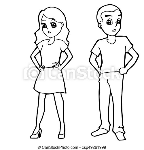 Cartoon Kid Boy Girl Or Human Coloring Page Vector