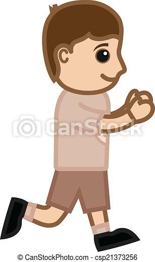 Cartoon Kid Boy Running Vector - csp21373256
