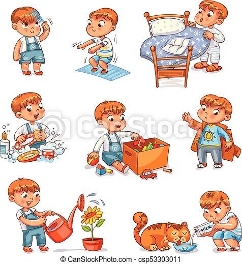 Cartoon kid daily routine activities set - csp53303011