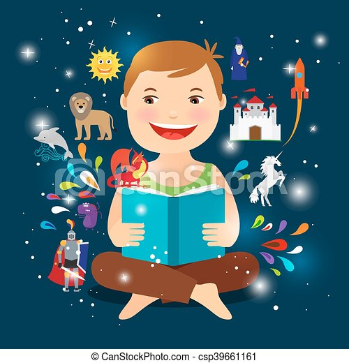 Cartoon kid reading fairy tale book - csp39661161