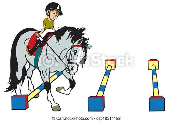 Cartoon Kid Riding Horse