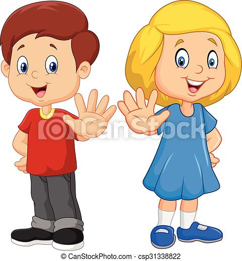 Cartoon kids are showing a stop - csp31338822