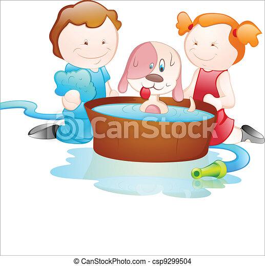 Cartoon Kids Bathing Dog - csp9299504