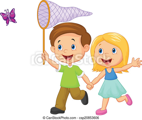 vector illustration of cartoon kids catching butterfly vector rh canstockphoto com kids victoria tx kids vector free