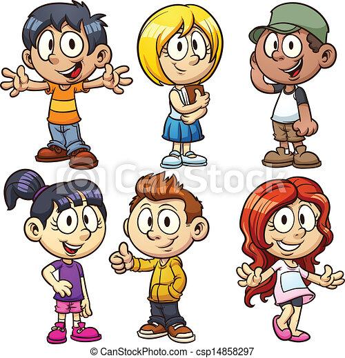 cartoon kids vector - Kids Cartoon Drawings