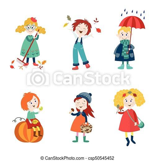 cartoon kids enjoy fall autumn activities kids children enjoy