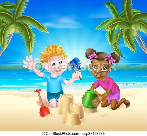 Cartoon Kids Having Fun On The Beach Vector