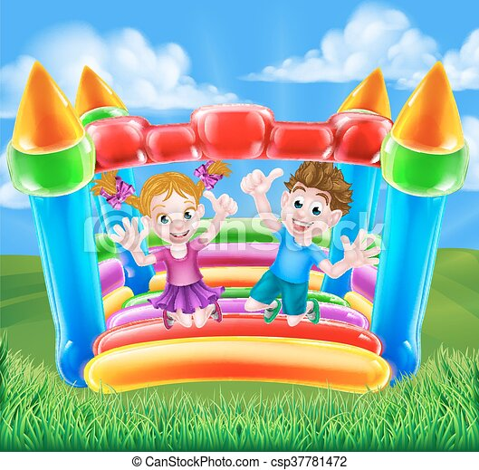Cartoon Kids on Bouncy Castle - csp37781472