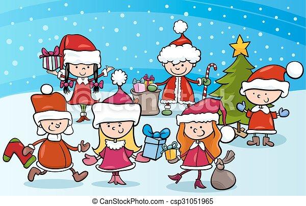 cartoon kids on christmas - csp31051965