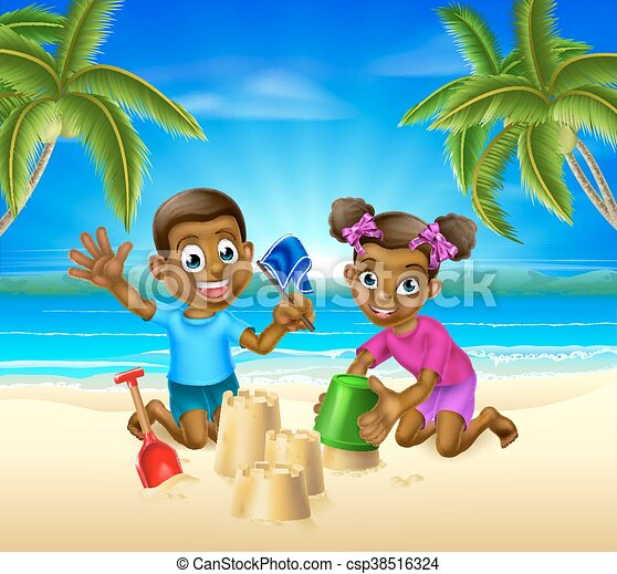 Cartoon Kids on the Beach - csp38516324