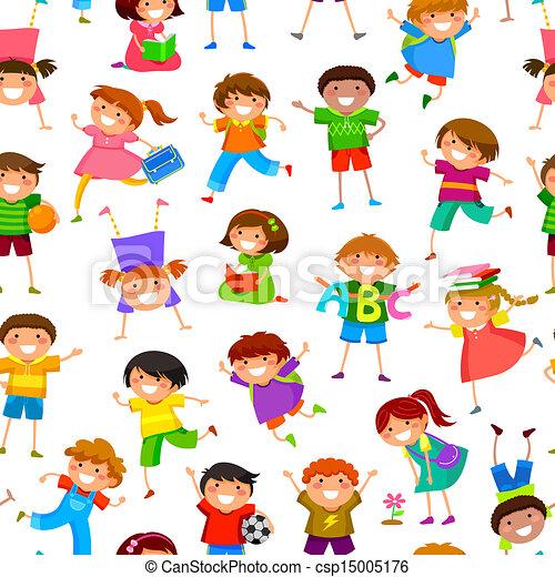cartoon kids pattern - csp15005176