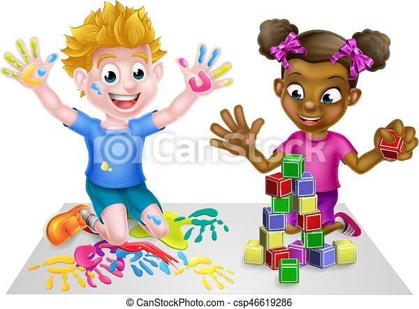 Cartoon Kids Playing Cartoon Boy And Girl Playing With Toys With