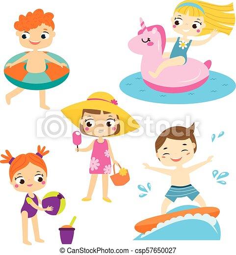 Cartoon Kids Set Children Having Summer Holidays Fun And Outdoor Beach Activity Boys And Girls Enjoy Seasonal Vacation