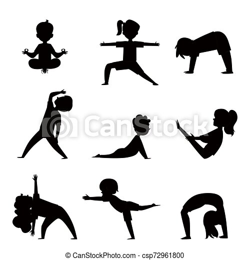 Cartoon Kids Silhouette Set In Various Yoga Poses Child Exercise And Fitness Collection Children Stretching And Meditating