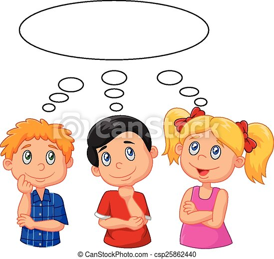 Cartoon Kids Thinking With White Bu Vector