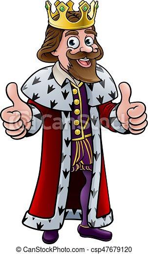 Cartoon king character. Cartoon king character wearing a ...