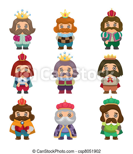 cartoon king icons set - csp8051902
