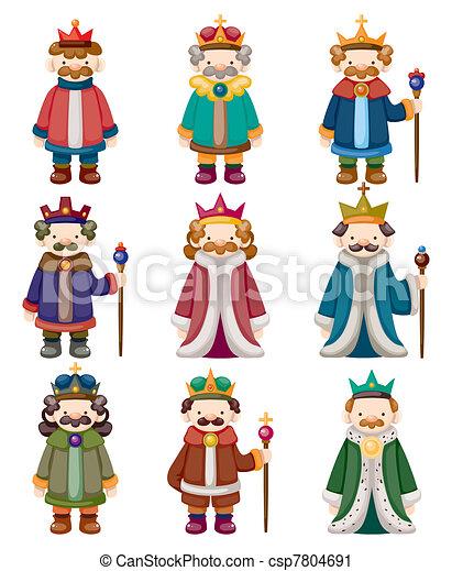 cartoon king icons set - csp7804691