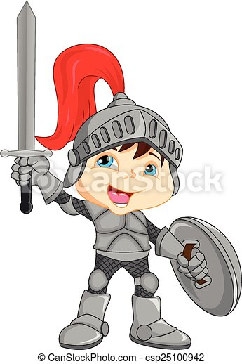 Cartoon knight boy - csp25100942