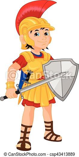 Cartoon knight boy - csp43413889