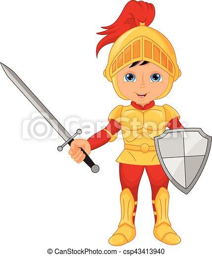 Cartoon knight boy - csp43413940