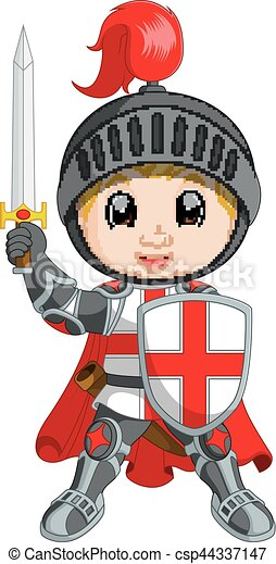 Cartoon knight boy - csp44337147