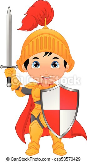 Cartoon knight boy - csp53570429