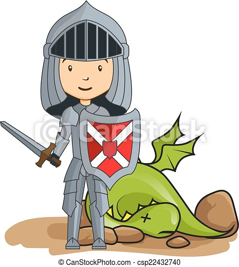 Cartoon knight victorious over the dragon - csp22432740