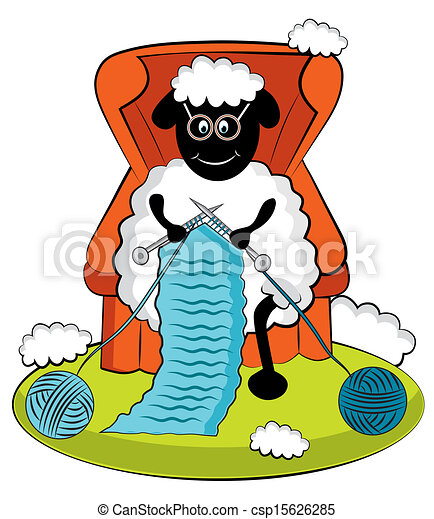 cartoon knitting sheep vector search clip art illustration rh canstockphoto com
