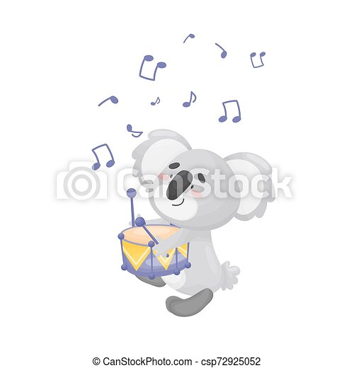 Cartoon koala with a drum. Vector illustration on a white background. - csp72925052