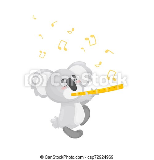 Cartoon koala with flute. Vector illustration on a white background. - csp72924969