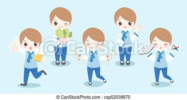 cartoon korea boy - csp52039970