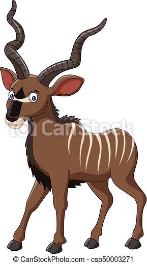 vector illustration of cartoon kudu antelope rh canstockphoto com cartoon antelope drawing cartoon antelope running