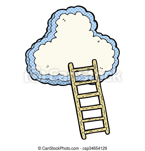 freehand drawn cartoon ladder to heaven vector illustration search rh canstockphoto ca