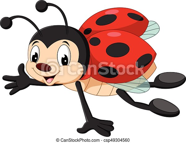 Cartoon Ladybug Flying   Csp49304560