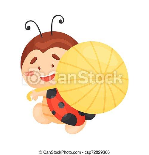 Cartoon ladybug with an umbrella. Vector illustration on a white background. - csp72829366