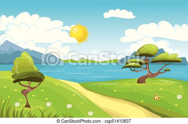 Cartoon landscape. Mountains, sea or lake, trees and dirt road. Blue sky with clouds and sun. Vector Illustration. - csp51410837