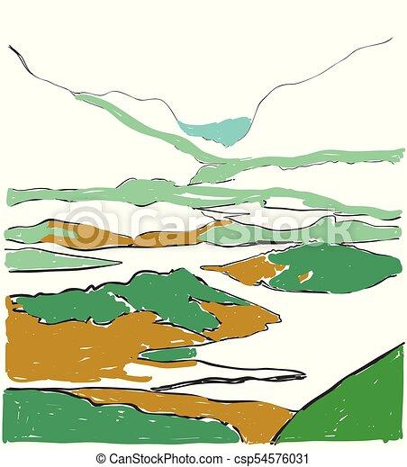 Cartoon landscape vector illustration. Hand drawn fields sketch - csp54576031