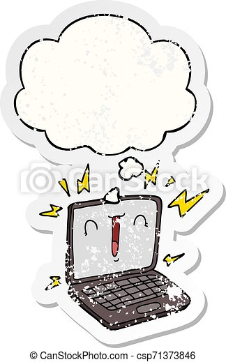 cartoon laptop computer and thought bubble as a distressed worn sticker - csp71373846