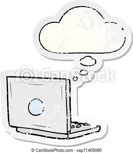 cartoon laptop computer and thought bubble as a distressed worn sticker - csp71405080