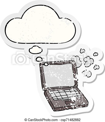 cartoon laptop computer and thought bubble as a distressed worn sticker - csp71482882